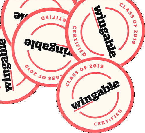 Stickers with 'Class of 2019 wingable certified' written on them